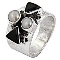 Festive Jewelry Black Onyx & Pearl Gemstone Silver Ring