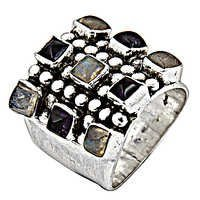Exclusive Amethyst & Rainbow Gemstone Silver Ring