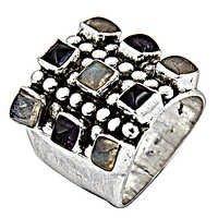 Exclusive Amethyst & Rainbow Gemstone Silver Ring