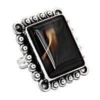 Hot World Large Antique Silver Agate Gemstone Ring