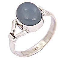 New Arrival Blue Chalcedony Gemstone Silver Ring