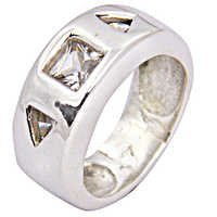 Classic Cubic Zirconia Gemstone Silver Ring
