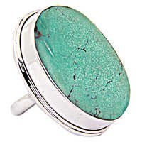 Fantastic Fashionable Big Turquoise Gemstone Silver Ring