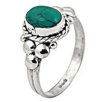 Fashionable Popular Turquoise Gemstone Silver Ring