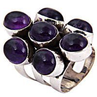 Party Wear Amethyst Zarken Gemstone Silver Ring