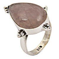 Lovely Rose Quartz Gemstone Silver Ring