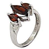 Sparkling Garnet Gemstone Silver Ring