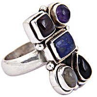 Delicate Multi Gemstone Silver Ring
