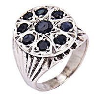 Feminine Unique Design Iolite Gemstone Silver Ring