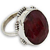 Ingenious Big Ruby Gemstone Silver Ring