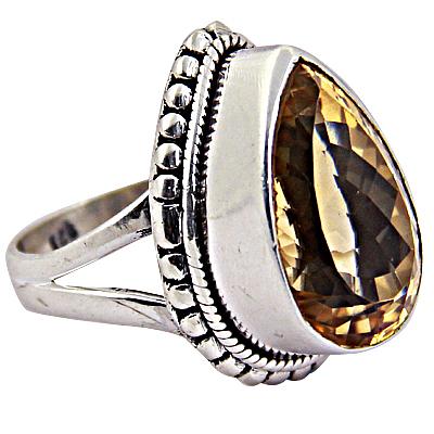 Precious Antique Citrine Gemstone Silver Ring