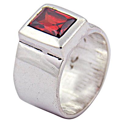 Hot Deep Dark Red Garnet Gemstone Silver Ring