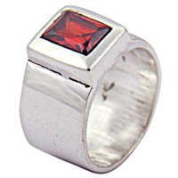 Hot Deep Dark Red Garnet Gemstone Silver Ring