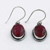 Royal Rhodochrosiotoe Gemstone Designer Silver Earrings