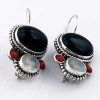 Victorian Multi Gemstone Silver Earring