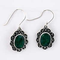 Traditional Green Corundum Gemstone Silver Earrings