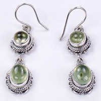 Designer Prenite Gemstone Silver Earrings