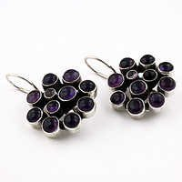Gracious Fashionable Amethyst Gemstone Silver Earrings