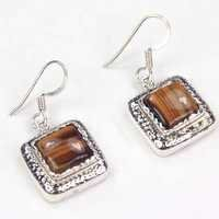 Traditional Tiger Eye Gemstone Silver Earrings