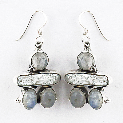Excellent Multi Gemstone Silver Earrings