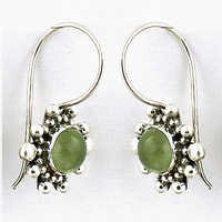 Indian Designer Prenite Gemstone Silver Hook Earrings