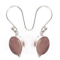 Rady To Wear Rose Quartz Gemstone Silver Hook Earrings