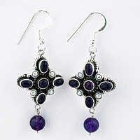Fastival Designer Amethyst Gemstone Silver Earrings
