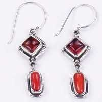 Sensational Amber Synthetic & Coral Gemstone Silver Jewellery Earrings
