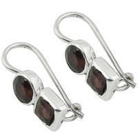 Celeb Style Garnet Gemstone Silver Earrings