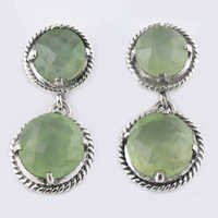 Fesitival Style Prehnite Gemstone Silver Earrings