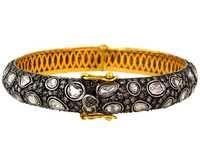 14k Yellow Gold Rose Cut Diamond Bangle Jewelry