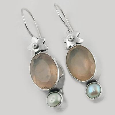 Famous Designer Pearl & Rose Quartz Gemstone Silver Earrings