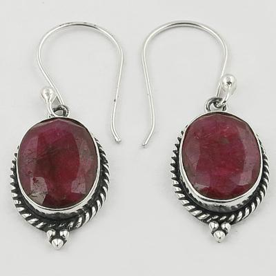 Ethnic Designer Died Ruby Gemstone Silver Earrings