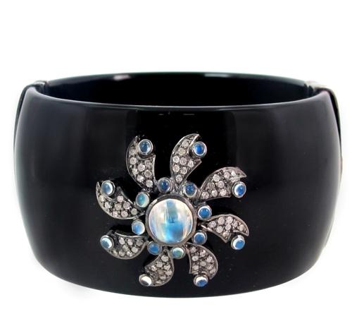 14k Gold Designer Gemstone Bakelite Cuff Bangle