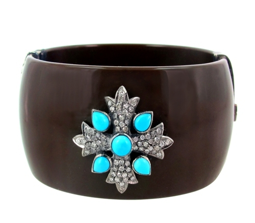 Turquoise Gemstone Gold Diamond Bangle