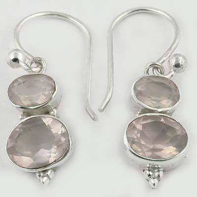Delicate Rose Quartz Gemstone Silver Earrings