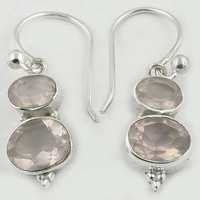 Delicate Rose Quartz Gemstone Silver Earrings