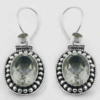 Party Wear Crystal Gemstone SIlver Earrings