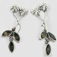 Antique Flower & Leaf Smokey Quartz Gemstone Silver Earrings