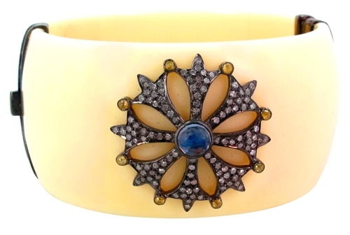 Pave Diamond Bakelite Bangle