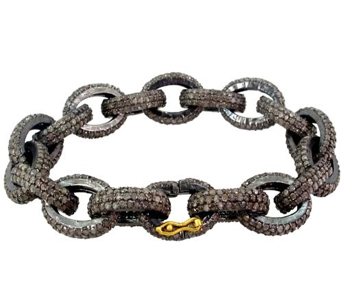 Pave Diamond Sterling Silver Bracelet Jewelry