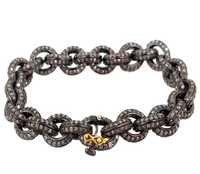 92.5 Sterling Silver Diamond Gold Chain Bracelet