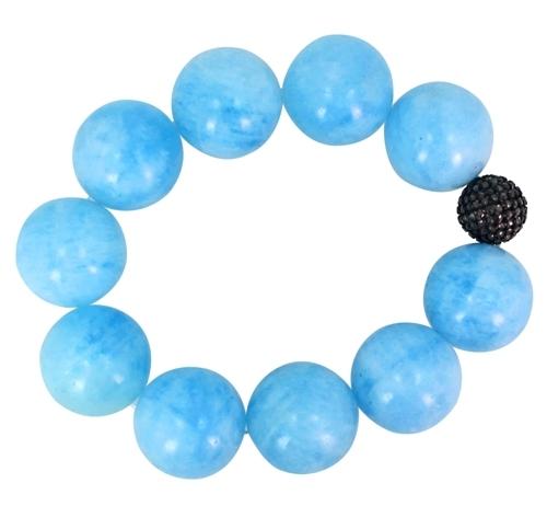Pave Diamond Aquamarine Beads Silver Bracelet