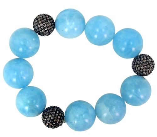 Silver Diamond Aquamarine Gemstone Beaded Bracelet