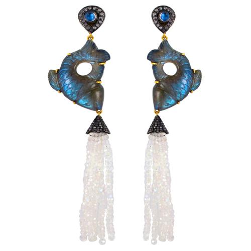 Gemstone Carving Diamond Tassel Earrings