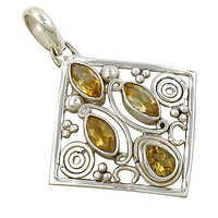 Designer Citrine Gemstone Silver Pendant