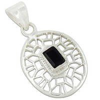 Indian Fret Work Black Onyx Gemstone Silver Pendant