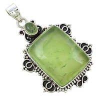Premier Passion Prehnite Gemstone Silver Pendant