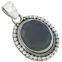 Designer Blue Chalcedony Gemstone Silver Pendant