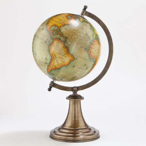 Antique Look Globe With Brass Stand